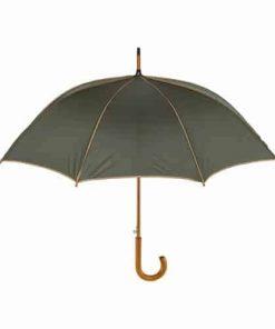 mörkgrönt och beige paraplyet