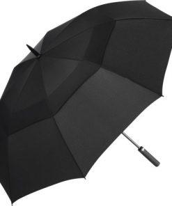 Svarta stormsäkra paraplyet f