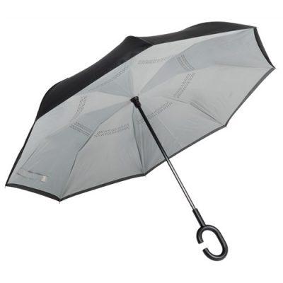Grått paraply med omvänd stängning