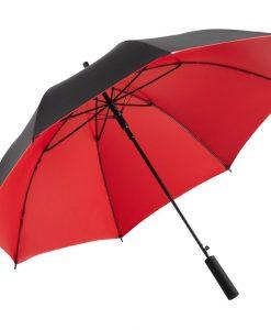eleganta röda och svarta lyxparaplyet.