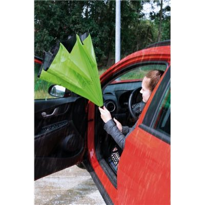 grönt paraply med omvänd stängning