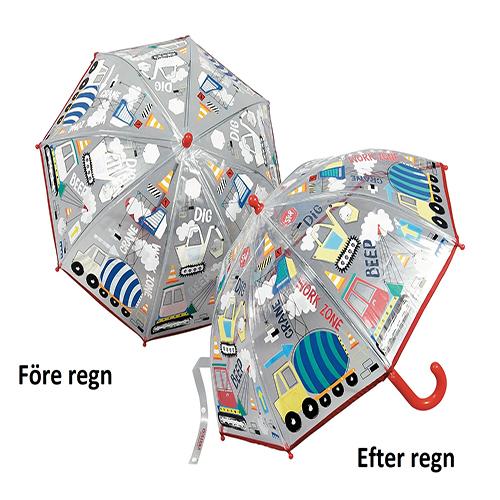 Barnparaply som skiftar färg
